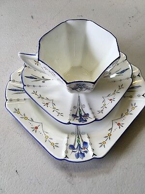 SHELLEY ART DECO QUEEN ANNE SHAPED  BLUE IRIS 723404 Trio Cup Saucer Plate , 2nd