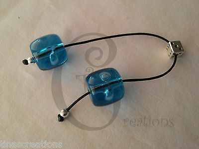 Greek Begleri mini komboloi blue aqua 15mm beads dice s plated tinas creations