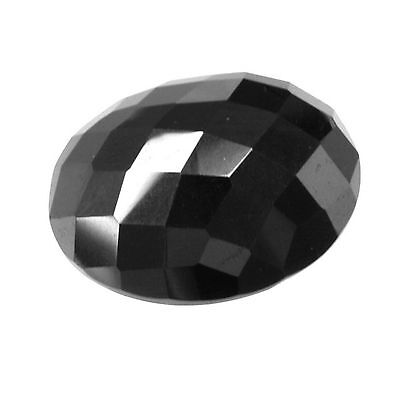 18mm x 13mm Oval Black Hematite Faceted Checkerboard Top Flat Bottom Gemstone