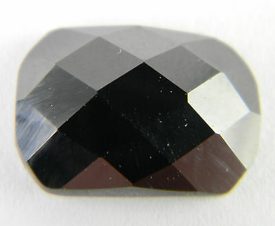 25mm x 18mm Cushion Black Hematite Faceted Checkerboard Top Flat Bottom Gemstone