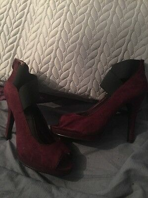 New Look Shoes Heels Strap Ankle Black And Burgundy Red