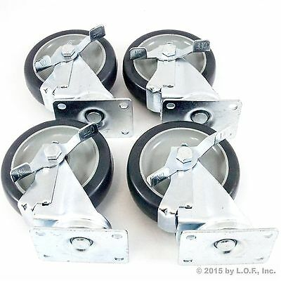 "Set of 4 Plate Caster with 5"" Polyurethane Wheels All Swivel All Brake 1300 lbs"