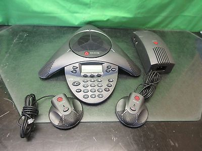 POLYCOM Soundstation VTX1000, 2201-07142-001 w/ Adapter, Mics, Cables ~