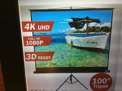 """100""""Inch Portable Tripod Projector Screen Conference Presentation HD Projection"""