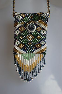 African beaded tribal ethnic purse style necklace