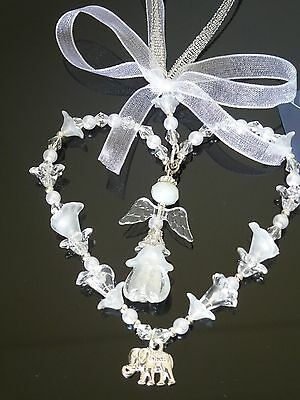 Guardian Angel Charm,White Heart 65mm,Christening/First Communion/Bridal,Party