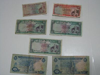 Ceylon 1970's Banknotes - 7 notes - See Pictures - 137 rupees total - circulated