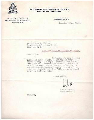 1929 Letterhead Fredericton New Brunswick Provincial Police Force