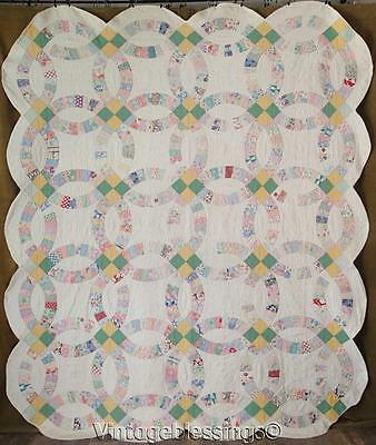 "Charming Prints! Vintage 1930s Cottage Home Wedding Ring QUILT 90"" x 77"""