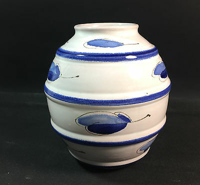 Arabia Finland Nordic Ceramic Barrel Vase Pottery Blue ARA MCM Clay
