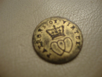 Antique rare brass medal medalet coin token patrons of virtue George Charlotte