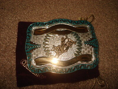 Vintage Crumrine Heavy Silver Plated Jewelers Bronze Bull Rider Belt Buckle