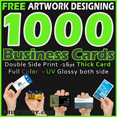 1000 Business Cards Real Printing-2 Sides Glossy or Matte-FREE CUSTOM DESIGNING