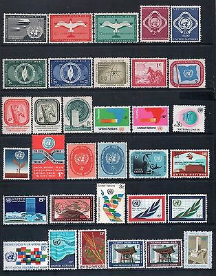 UNITED NATIONS - Mixed Lot of 33 Stamps most Mint Hinged