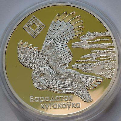 Belarus, 20 Roubles, 2005  Proof Silver Coin, The Bogs of Almany, Owl