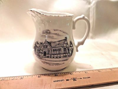 Augusta, Me., Antique Porcelain Souvenir Cream Pitcher, Image Of Public Library