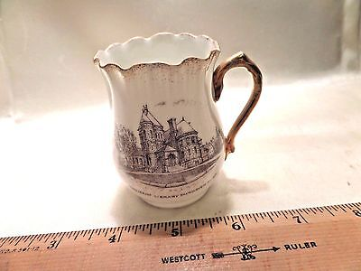Fairhaven, Ma, Antique Porcelain Souvenir Pitcher W/image Of Millicent Library