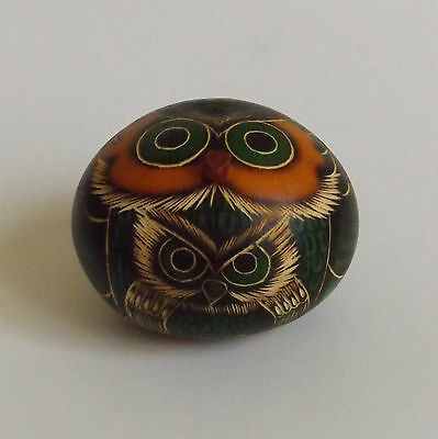 Carved Owl Bird Figurine With Baby New 2 1/4 In. Tall