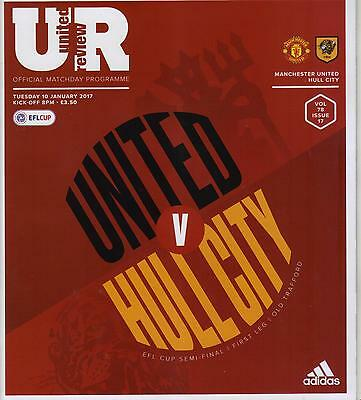 2016/17  Manchester United  v  Hull City  League Cup  EFL S/F  MINT + T/S + Menu