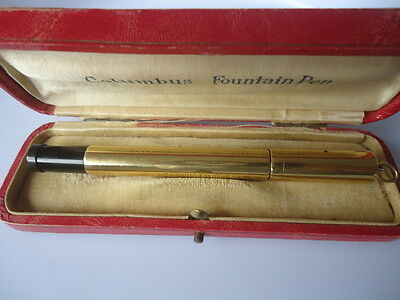 Old fountain pen Columbus oro 18kr safety, retractible, nib oro 14k