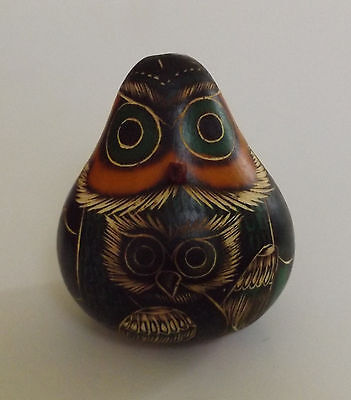 Carved Owl Bird Animal Figurine With Baby New 3 1/2 In. Tall