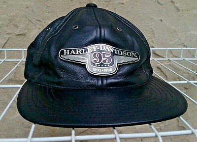 Harley Davidson Hat 95Th Anniversary Black Leather With Medallion