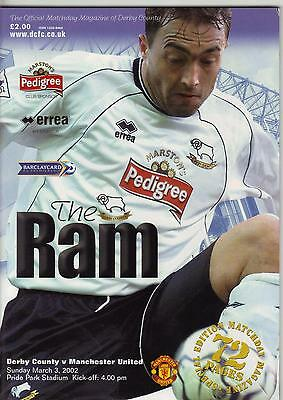 2001/02    Derby County    v    Manchester United    MINT   +   Ticket