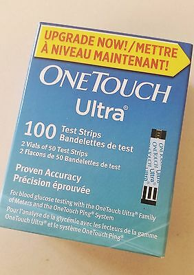100 ONE TOUCH ULTRA BLUE DIABETIC TEST STRIPS [Exp. 02/ 2018] (BRAND NEW)