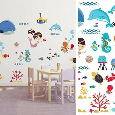 Wall Stickers Kids Nursery Baby Girl Room Decor Little Mermaids Vinyl Art Decals