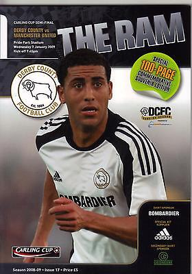 2008/09    Derby County   v   Manchester United    MINT    League Cup Semi Final