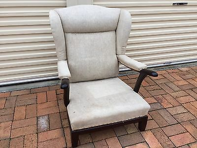 Antique Huge Solid Wing Back Chair Ready for Upholstery Fabric