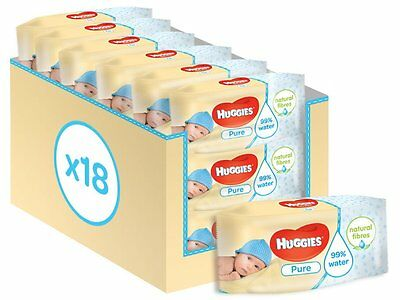 Huggies Pure Natural Wipes Alcohol & Fragrance Free Pack of 18 Total 1008 Wipes