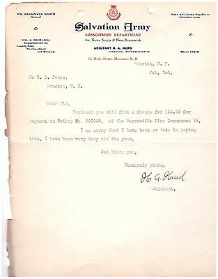 1921 Letterhead Moncton New Brunswick Salvation Army Subscribers Department