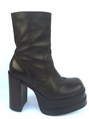 Vtg 90s Steve Madden Dark Brown LEATHER CHUNKY Heel Platform Ankle Boots KAT 7.5