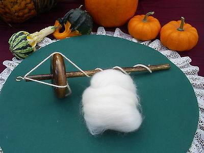 Handmade Top Whorl Drop Spindle 2.4oz. & Wool Roving To Hand Spin Yarn