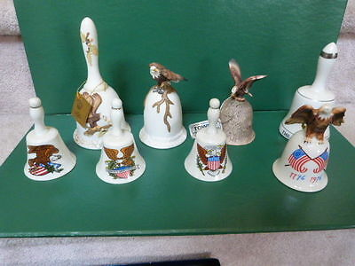 OUTSTANDING Lot of 8 PATRIOTIC Eagle Porcelain Bells Lefton Towle