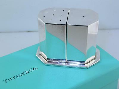 Sterling TIFFANY & CO Salt & Pepper Shakers w/ Tray MODERNIST Italy w/ Box