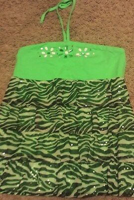 Girls size 16 JUSTICE bright green zebra print halter top