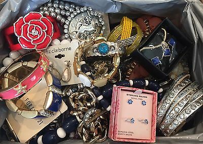 8 LBS Fashion Jewelry Huge Lot - Box Full Of Necklaces Bracelets Etc