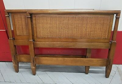Pair CENTURY twin Size Bed frame Headboard Vintage antique Wicker cane wood