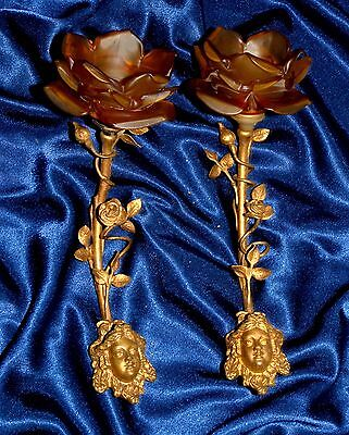 Pair Of Magnificent French Bronze/ Brass Sconces Female Face Frosted Rose Shades