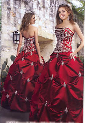 Red embroiders satin Wedding dress Bridal stock uk size 6-8-10-12-14-16-18