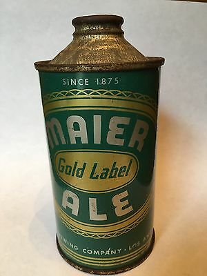 Extremely Rare Maier Gold Label Ale Cone Top Beer Can