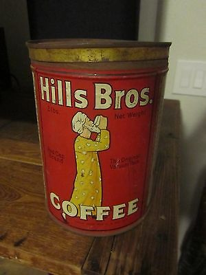 Rare Early 1932-1936 HILLS BROS COFFEE TIN CAN 2LB RED CAN BRAND Antique Vintage