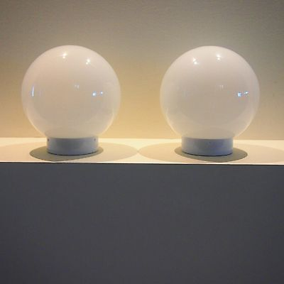 Vintage Round 1980's milk glass ceiling/wall light shade ball/round x 2