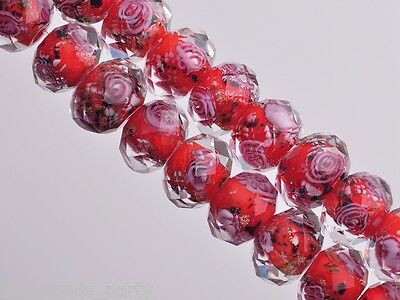 10pcs 10mm Flowers Faceted Rondelle Lampwork Glass Loose Spacer Beads Charms Red