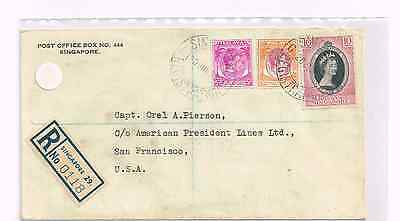 Malaya/Singapore 1953 Reg cover to US+mixed franking QEII coronation & KGVI