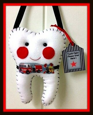 Tooth Fairy Pillow - Fire Truck - Handmade- Lost tooth goes in back pocket