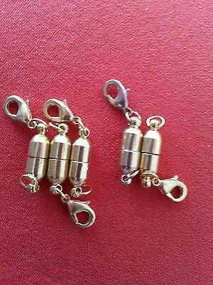 Magnetic clasp converters, 5 x gold colour. Easy fix for tiny necklace clasps.