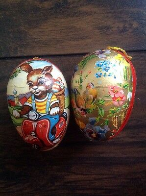 Vintage German Paper Mache Candy Container Easter Eggs Lot 2, Bunny, Floral